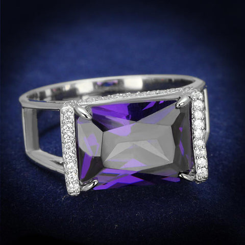 TS417 Rhodium 925 Sterling Silver Ring with AAA Grade CZ in Amethyst