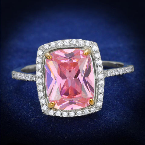 TS418 Rose Gold + Rhodium 925 Sterling Silver Ring with AAA Grade CZ in Rose