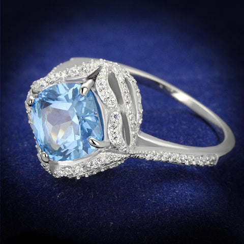 TS419 Rhodium 925 Sterling Silver Ring with Synthetic in Sea Blue