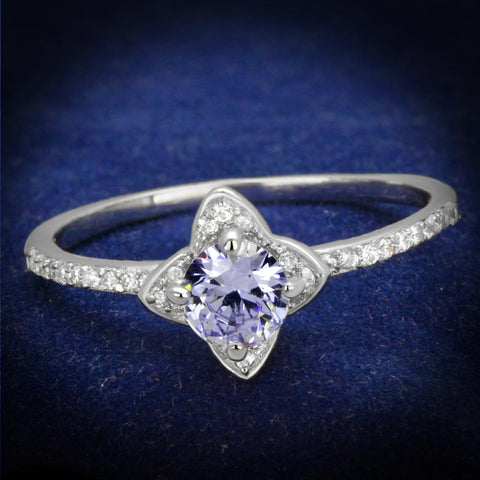 TS432 Rhodium 925 Sterling Silver Ring with AAA Grade CZ in Light Amethyst