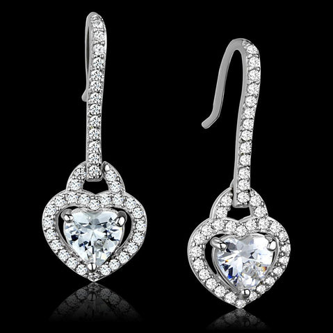 TS439 Rhodium 925 Sterling Silver Earrings with AAA Grade CZ in Clear