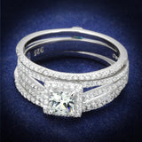TS455 Rhodium 925 Sterling Silver Ring with AAA Grade CZ in Clear