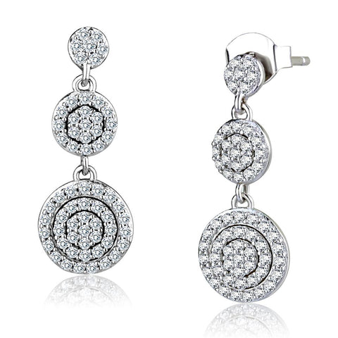 TS494 Rhodium 925 Sterling Silver Earrings with AAA Grade CZ in Clear