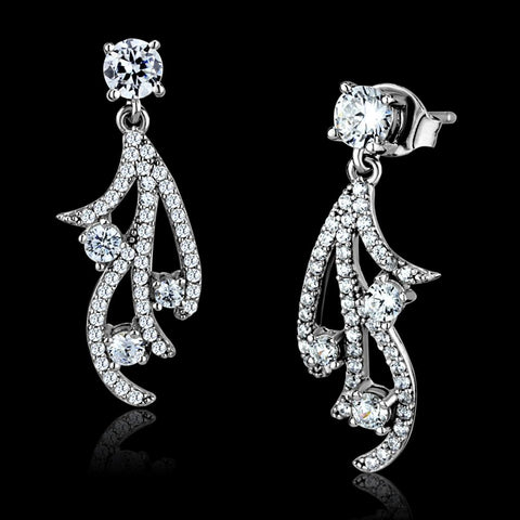 TS495 Rhodium 925 Sterling Silver Earrings with AAA Grade CZ in Clear
