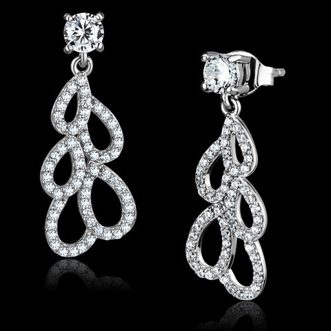 TS496 Rhodium 925 Sterling Silver Earrings with AAA Grade CZ in Clear