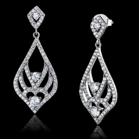 TS497 Rhodium 925 Sterling Silver Earrings with AAA Grade CZ in Clear