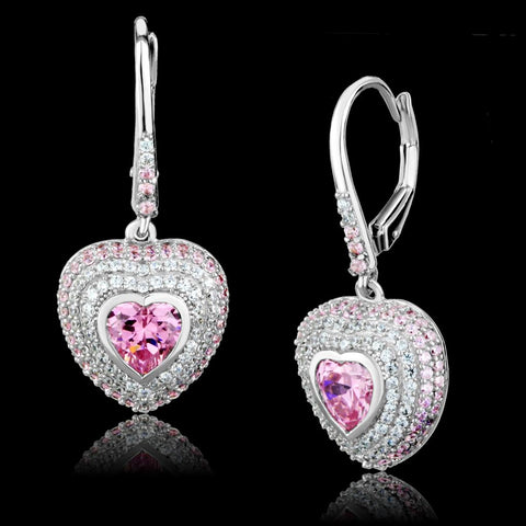 TS505 Rhodium 925 Sterling Silver Earrings with AAA Grade CZ in Rose