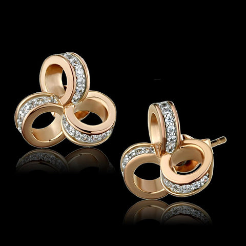 TS513 Rose Gold + Rhodium 925 Sterling Silver Earrings with AAA Grade CZ in Clear