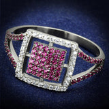 TS533 Rhodium + Ruthenium 925 Sterling Silver Ring with AAA Grade CZ in Ruby