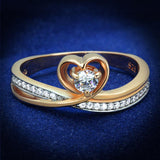 TS544 Rose Gold + Rhodium 925 Sterling Silver Ring with AAA Grade CZ in Clear