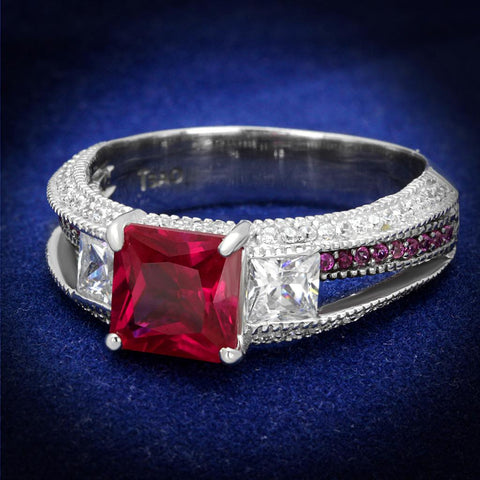 TS545 Rhodium + Ruthenium 925 Sterling Silver Ring with AAA Grade CZ in Ruby