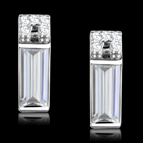 TS550 Rhodium 925 Sterling Silver Earrings with AAA Grade CZ in Clear