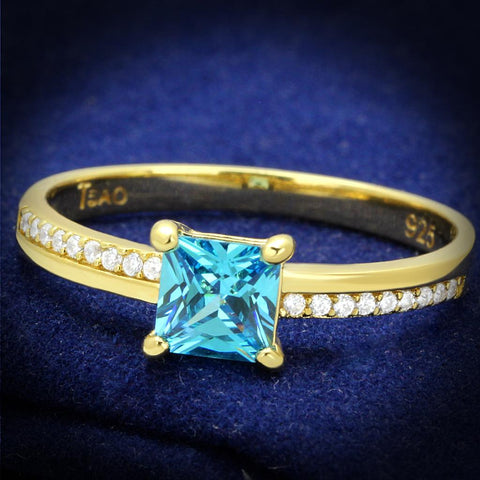 TS559 Gold 925 Sterling Silver Ring with AAA Grade CZ in Sea Blue