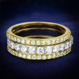 TS568 Gold+Rhodium 925 Sterling Silver Ring with AAA Grade CZ in Clear