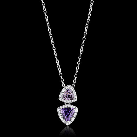 TS607 Rhodium 925 Sterling Silver Chain Pendant with AAA Grade CZ in Amethyst