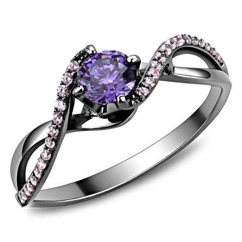 TS610 Ruthenium 925 Sterling Silver Ring with AAA Grade CZ in Amethyst
