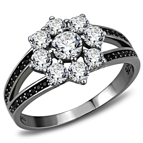 TS611 Ruthenium 925 Sterling Silver Ring with AAA Grade CZ in Clear