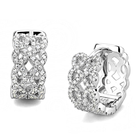 TS616 Rhodium 925 Sterling Silver Earrings with AAA Grade CZ in Clear