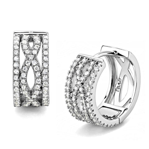 TS617 Rhodium 925 Sterling Silver Earrings with AAA Grade CZ in Clear