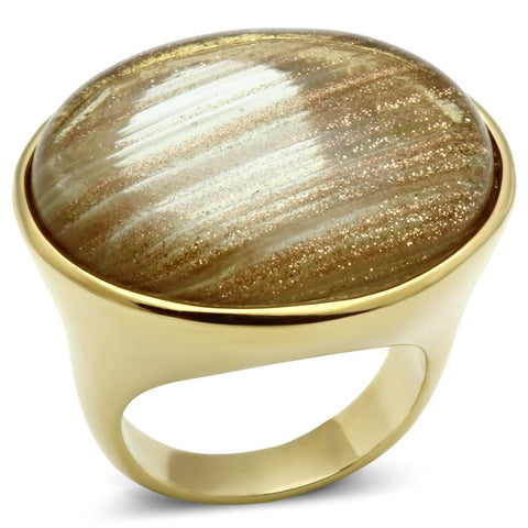 VL002 IP Gold(Ion Plating) Brass Ring with Synthetic in Topaz