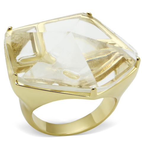 VL007 Gold Brass Ring with Synthetic in Clear