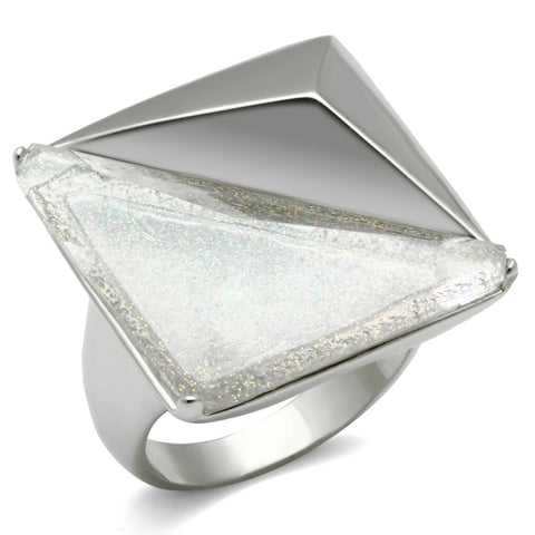 VL009 Rhodium Brass Ring with Synthetic in Aurora Borealis (Rainbow Effect)