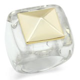 VL015 Gold Brass Ring with Synthetic in Clear