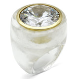 VL018 Gold Brass Ring with AAA Grade CZ in Clear