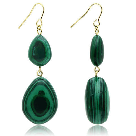 VL019 Gold Brass Earrings with Synthetic in Emerald