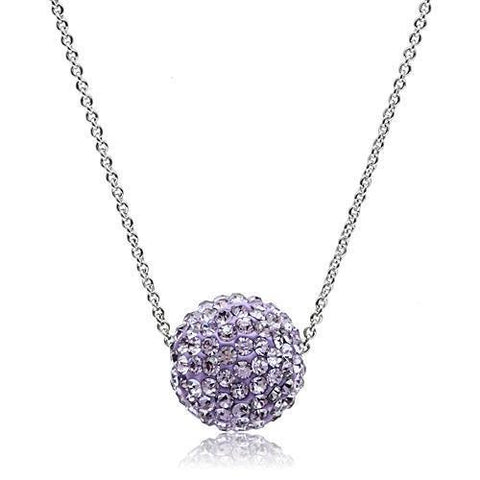 VL056 Rhodium Brass Chain Pendant with Top Grade Crystal in Light Amethyst