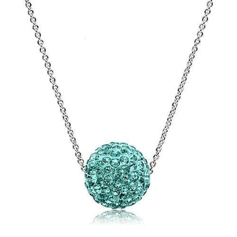 VL059 Rhodium Brass Chain Pendant with Top Grade Crystal in Sea Blue