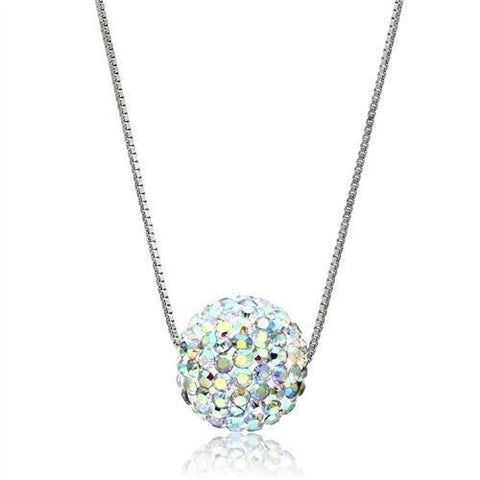VL062 Rhodium Brass Chain Pendant with Top Grade Crystal in Aurora Borealis (Rainbow Effect)