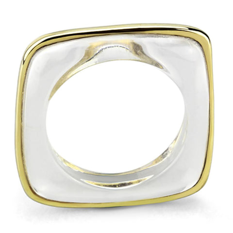 VL081 IP Gold(Ion Plating) Brass Ring with Synthetic in Clear