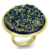 VL086 IP Gold(Ion Plating) Brass Ring with Synthetic in Sapphire