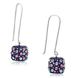 VL089 High polished (no plating) Stainless Steel Earrings with Top Grade Crystal in Multi Color