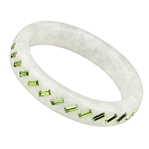 VL093 N/A Resin Bangle with Top Grade Crystal in Peridot