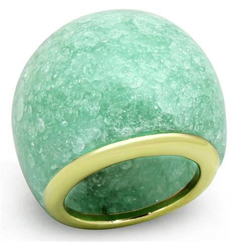 VL110 IP Gold(Ion Plating) Stainless Steel Ring with Synthetic in Emerald