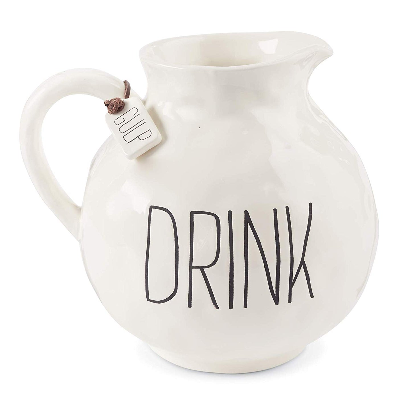 Farmhouse Inspired Mottled Drink Ceramic Pitcher