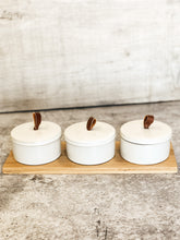 Bamboo Tray with Three Pinch Pots