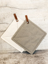 Cotton Potholders with Leather Loop