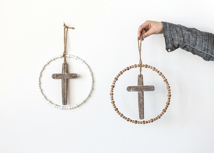 Wood Cross and Bead Wall Hanging