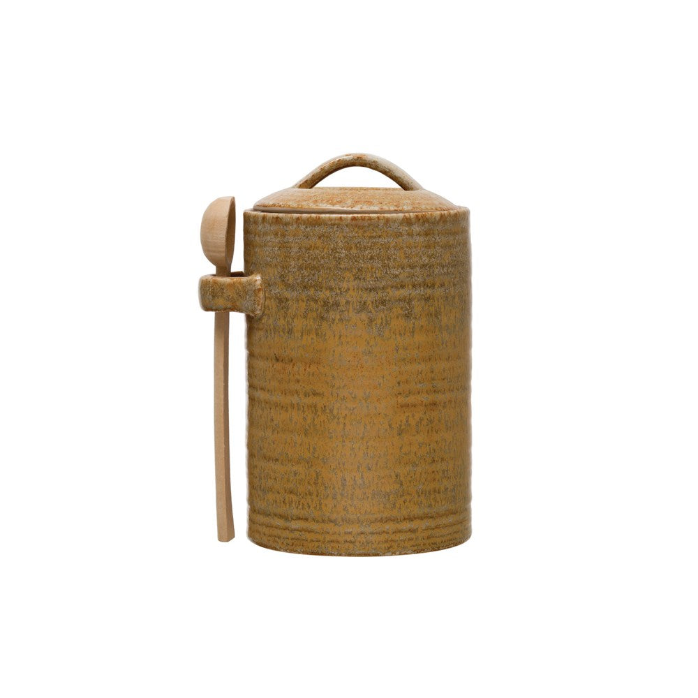 Mustard Stoneware Canister