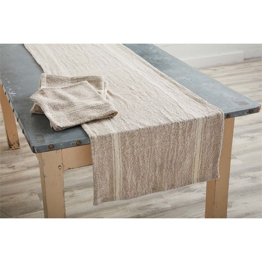 Taupe Woven Grainsack Table Runner