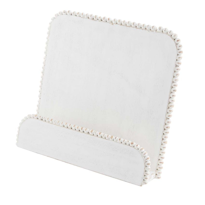 White Beaded Cookbook Stand