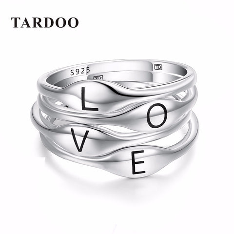 Authentic 925 Sterling Silver Rings for Women - Fly&Love Typeface - Gracyfy