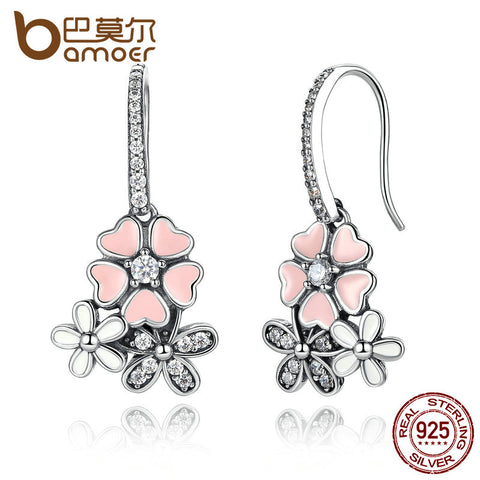 100% 925 Sterling Silver Cherry Blossom Drop Earrings with Pearl - Gracyfy