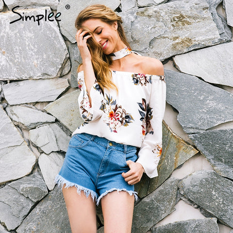 Simplee Floral print off shoulder chiffon blouse Women