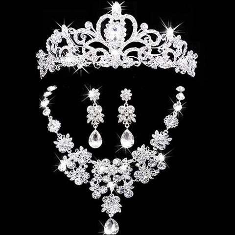 bridal jewelry crown necklace and earring set tiara - Gracyfy