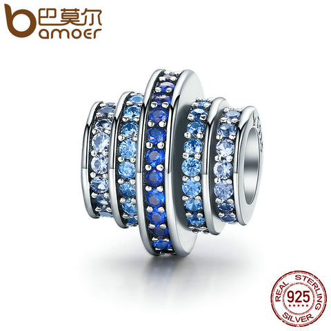 925 Sterling Silver Round Wheel Blue Melody Clear CZ Crystal Charms - Gracyfy