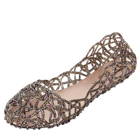 Soft Crystal Cut out Flat Heel Shoes - Gracyfy